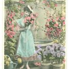 FRENCH FLOWER MAIDEN-Hand Tinted-ANTIQUE VINTAGE ORIGINAL RPPC PHOTO POSTCARD
