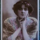 MONA DELZA-FRENCH VAUDEVILLE-ANTIQUE VINTAGE EARLY 1900 RPPC POSTCARD HAND TINT