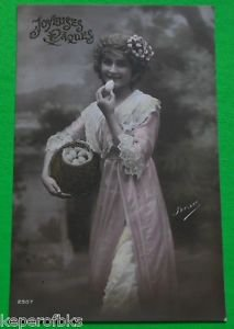 YOUNG LADY NEST of EGGS-HAND COLORED-ANTIQUE REAL PHOTO FRENCH EASTER POSTCARD