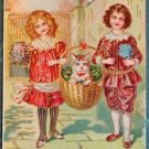 CHILDREN BASKET with CAT-HAPPY BIRTHDAY-Pre 1930 German GILT VINTAGE POSTCARD