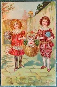 CHILDREN BASKET with CAT-HAPPY BIRTHDAY-Pre 1930 German GILT VINTAGE POSTCARD