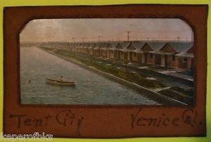 Tent City Venice, California - ORIGINAL ANTIQUE VTG 1900s Leather/Photo POSTCARD