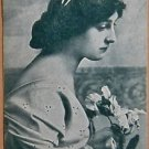 MEDITATION-PRETTY LADY-ANTIQUE VINTAGE USWN WIDE NAMED SWAP PLAYING CARD-GREEN