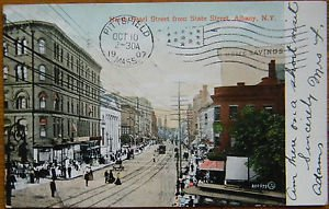 N. PEARL ST-TROLLEY CAR-ALBANY, NEW YORK-VINTAGE ANTIQUE UNDIVIDED 1907 POSTCARD