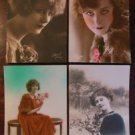 YOUNG LADY'S -HAND TINTED-Lot of 4 ANTIQUE FRENCH RPPC REAL PHOTO POSTCARDS 4