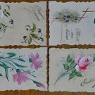 BLUE BIRD, PANSY CARNATION ROSE-LOT of 4 VINTAGE HAND PAINTED HANDMADE POSTCARDS