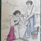 Artist Rendering  L'Angelus-Millet  ANTIQUE HANDMADE Pencil-HAND PAINT POSTCARD