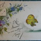 CHICK HATCHES EGG PANSY SPRAY-VINTAGE 1900s ORIGINAL ART HAND PAINTED POSTCARD