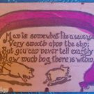 """Piggies Sausage-Man is Like Sausage, Bog Within""-ANTIQUE 1907 LEATHER POSTCARD"