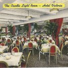 1945 THE CANDLE LIGHT ROOM-INTERIOR DINING-HOTEL VICTORIA-NY,NY-VINTAGE POSTCARD