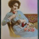 FRENCH FANTASY LADY COUCH-HAND TINT-ANTIQUE VINTAGE RPPC REAL PHOTO POSTCARD 2