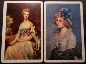 Classic Paintings of Women - 2 Vintage BLANK BACK Swap Cards