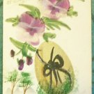 GOLDEN EGG-PANSY SPRAY-MINI TREES-VINTAGE ANTIQUE HANDMADE HAND PAINTED POSTCARD