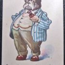 Vintage 1913 Anthropomorphic Dressed Bull Dog Postcard Artist Signed Wall 6205