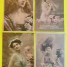 Lot of 4 Vintage FRENCH RPPC Real Photo Postcards Sexy Young Lady's Hat Flower-d