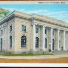POST OFFICE PITTSFIELD, MASS. 42-ANTIQUE C. T. AMERICAN ART COLORED POSTCARD