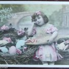 YOUNG GIRL NEST of EGGS & FISH-ANTIQUE FRENCH TINTED REAL PHOTO EASTER POSTCARD