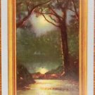 """""""SOLITUDE"""" NIGHT FULL MOON WATER TREES-VINTAGE USWN WIDE NAMED SWAP PLAYING CARD"""
