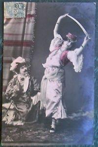 MAN LADY SWORD DANCE-VINTAGE 1907 RPPC REAL PHOTO POSTCARD EUROPEAN Hand Colored
