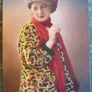 SEXY LADY in CAP SMOKES CIGARETTE-VINTAGE ART DECO PARIS RPPC PHOTO POSTCARD