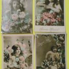 4 Antique Vintage Hand Tinted Colored FRENCH Real Photo POSTCARDS-Young Girls-2