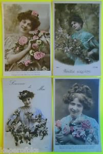 Lot o 4 Vintage FRENCH 1915 RPPC Real Photo Postcards Pretty Young Lady Flower-c
