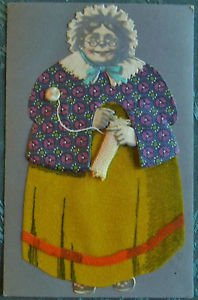 VINTAGE HANDMADE POSTCARD WOMAN KNITTING DIE CUT SCRAPS FACE FABRIC LIKE CLOTHES