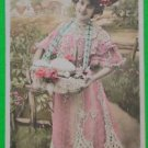 YOUNG LADY BASKET of EGGS-HAND TINT-ANTIQUE REAL PHOTO FRENCH EASTER POSTCARD