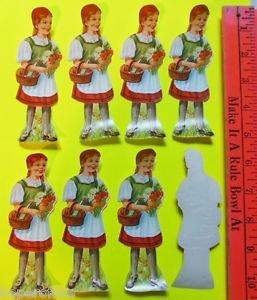 """VTG Die Cut 8 SWISS Cookie Picture Scraps Glanzbilder-Red Riding Hood Heidi 5"""""""
