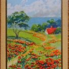 """POPPIES"" FIELD OF & HOUSE - ANTIQUE VINTAGE USNN NARROW NAMED SWAP PLAYING CARD"
