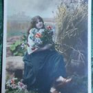 YOUNG LADY LONG HAIR on BENCH-HAND TINTED-ANTIQUE FRENCH RPPC PHOTO POSTCARD