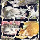 Vintage Die Cut Scrap Paper Glanzbilder Oblaten CATS UK MLP 1510 Old Store Stock