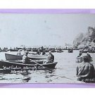 OUT FISHING-KLAMATH RIVER, CALIF-MEN in BOATS-VINTAGE RPPC PHOTO POSTCARD