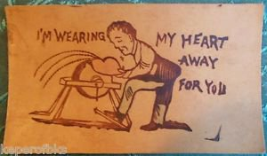 I'm Wearing My Heart Away 4 U-Man at Sander-ANTIQUE UNUSED 1900 LEATHER POSTCARD