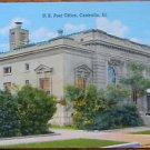 U. S. POST OFFICE CENTRALIA, ILL.- ANTIQUE C. T. AMERICAN ART LINEN POSTCARD