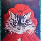ANTHROPOMORPHIC DRESSED CAT-RED RIDING HOOD-ANTIQUE VINTAGE POSTCARD-BARNES