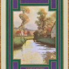 """EARLY MORN""-RIVER SCENE TREES-ANTIQUE USWN WIDE NAMED SWAP PLAYING CARD"