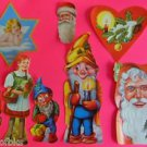 Vintage Die Cut 8 SWISS Cookie Picture Scraps Glanzbilder-Santa-Gnome-Angel-Girl