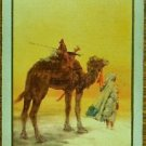"""DESERT"" MAN LEADING CAMEL in DESERT-VINTAGE ANTIQUE USW NAMED SWAP PLAYING CARD"