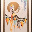 """Pierrot Moon"" Lady/Cherub Vintage UK Narrow Named Linen Swap Playing Card"