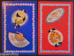 Chinese Paper Lanterns Fan Umbrella Pair Vintage SWAP PLAYING CARDS-ARRCO USA
