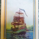 """ARGOSY"" PIRATE CLIPPER SHIP at SEA-ANTIQUE DECO NARROW NAMED SWAP PLAYING CARD"
