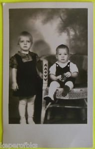Young Girl & Toddler Brother Hold Lucky Strike Cigarette Pack Vintage 1940 Photo