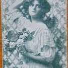 """DREAMING""-VICTORIAN LADY-GREEN-VINTAGE USA WIDE MONOTONE NAME SWAP PLAYING CARD"
