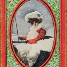 """HOLLY""  CHRISTMAS HOLIDAY LADY in FUR-VINTAGE ANTIQUE WIDE NAMED PLAYING CARD"