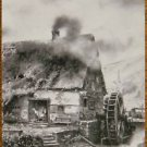 COTTAGE WATER WHEEL STREAM - BROWN MONOTONE-VINTAGE WIDE NAMED SWAP PLAYING CARD