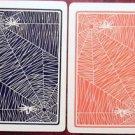 SPIDER in SPIDERWEB - 1 PAIR ANTIQUE WIDE LINEN SWAP PLAYING CARDS - HALLOWEEN