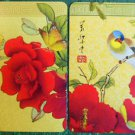 ASIAN ORIENTAL ROSE with BIRD & BUTTERFLY-MODERN PAIR LINEN SWAP PLAYING CARDS