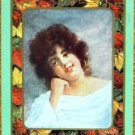 """AUTUMN"" PRETTY LADY LEAF BORDER-1 ANTIQUE USWN WIDE NAMED SWAP PLAYING CARD"