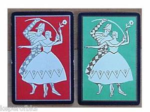 Pierrot & Ballerina Gold Gilt - Antique Vintage Art Deco Swap Playing Card Pair